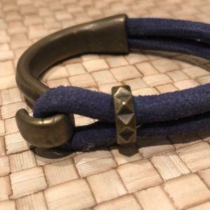 Blue suede and brass hook bracelet